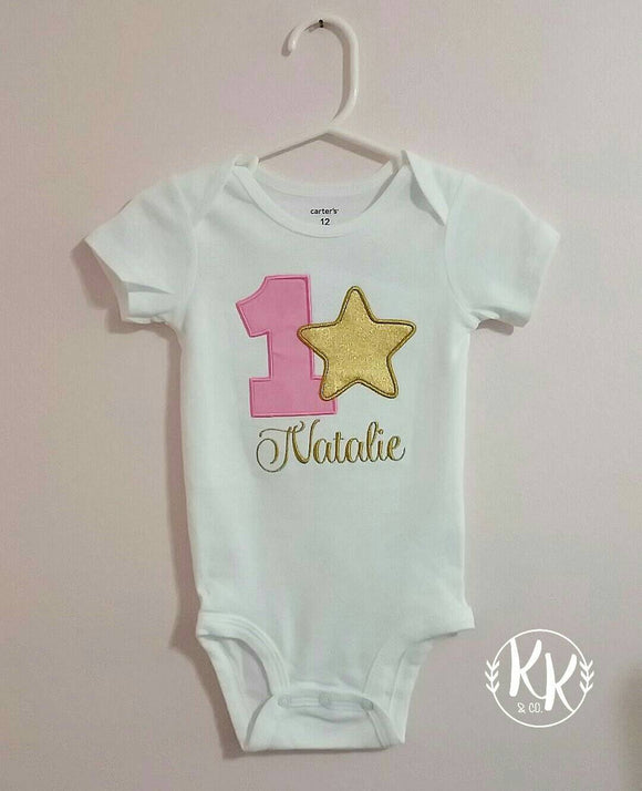 Twinkle Little Star Birthday Shirt Outfit Baby Girls First