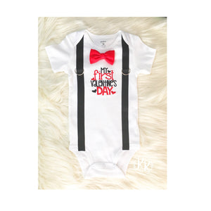 ec27ffde7 My First Valentines Day Shirt, Bow Tie And Suspenders, Boys 1st Valentines  Day,