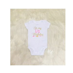 Half Birthday Shirt Girls 1 2 Outfit Embroidered