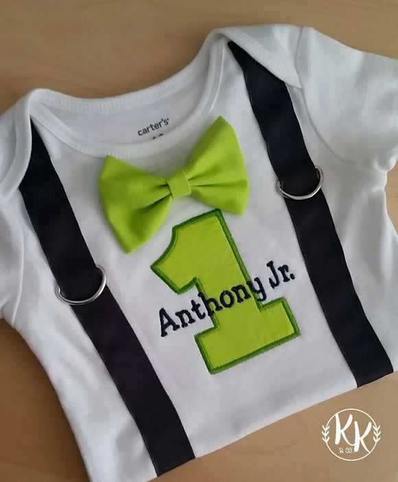 Suspenders And Bow Tie Birthday Boy Shirt First