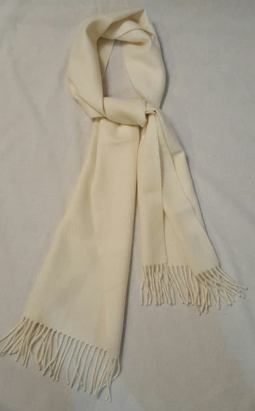 100% baby alpaca scarf in ivory