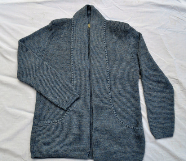 Alpaca sweater with pockets in denim