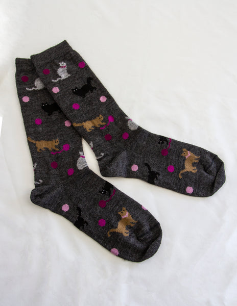 Alpaca Bamboo Cat Sock