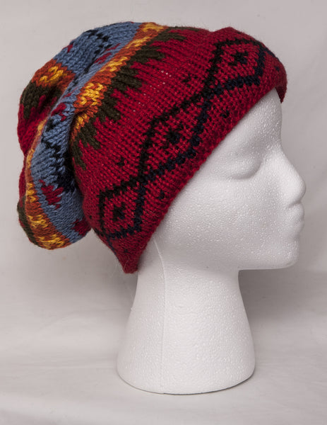 Alpaca knit ski cap in red