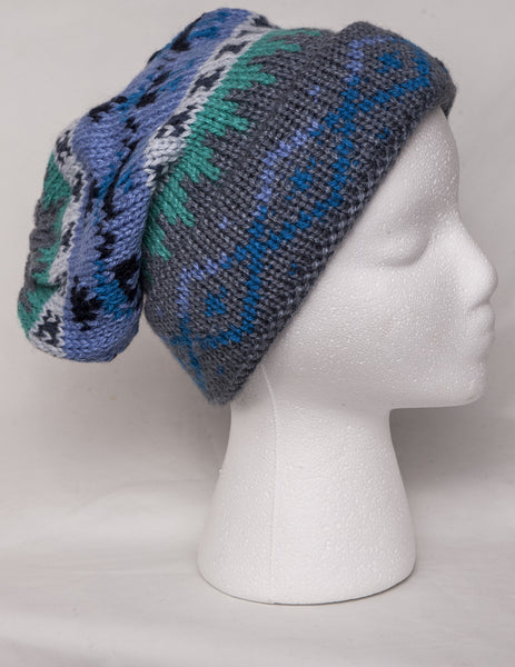 Alpaca knit ski cap in blue