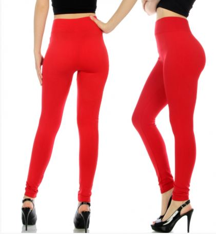 014-Legging#14 Red Seamless Solid Legging