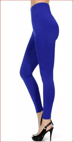 044-Legging#44 Royal Blue High Waist Fleece Durable Polyamid Legging
