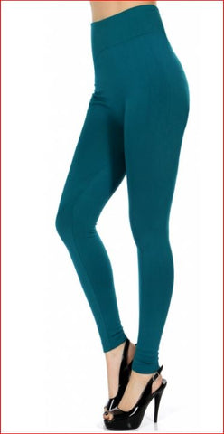 049-Legging#49 Teal High Waist Fleece Durable Polyamid Legging