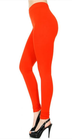 006-Legging#6 Fire Red Seamless Solid Legging