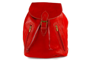 Moroccan Genuine Leather Backpack with Zip Pockets (Large) - Multiple Colors