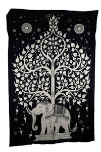 Indian Wall Hanging, B&W Elephant Tree of Life