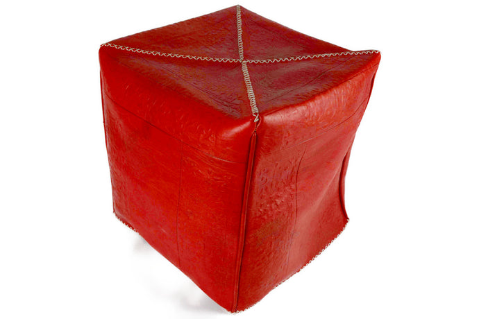 Moroccan Cube Leather Pouffe, Small - Multiple colors