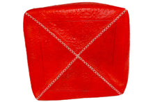 Load image into Gallery viewer, Moroccan Cube Leather Pouffe, Small - Multiple colors