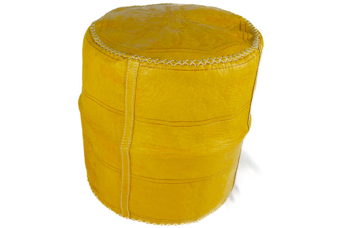 Moroccan Unicolor Leather Pouffe, Small - Multiple colors
