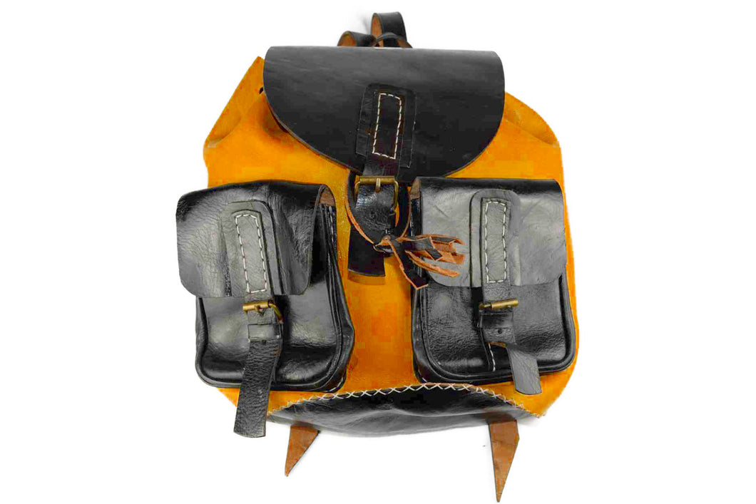 Moroccan Genuine Leather Backpack - BLACK & GOLD
