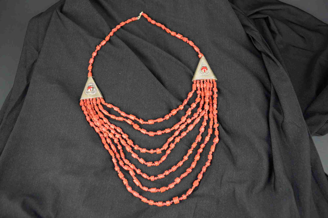 Moroccan Necklace, with small orange beads and triangle
