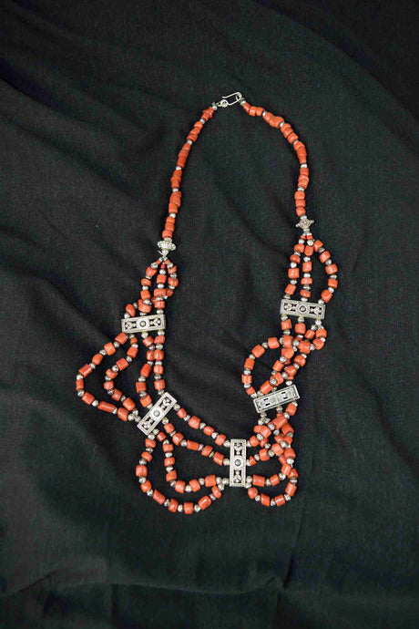 Moroccan Berber Necklace, with small orange beads