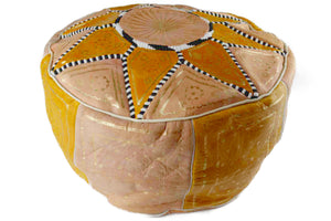 Moroccan Leather Pouffe Al Alamiya - Multiple colors