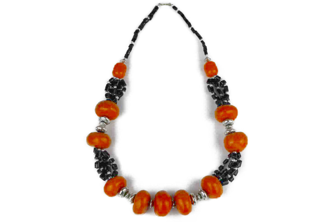 Moroccan Necklace, with orange and black beads
