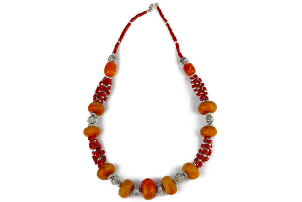 Moroccan Necklace, with orange and red beads