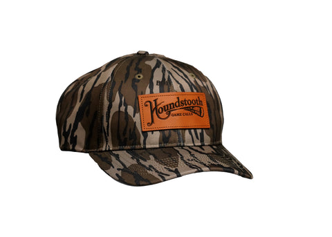Houndstooth Mossy Oak Leather Patch Hat Structured