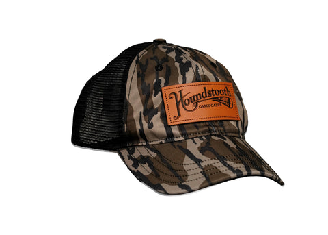 Houndstooth Mossy Oak Unstructured Leather Patch Hat