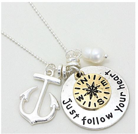 Silver follow your heart charm necklace