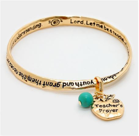 Teacher's Prayer Twist bangle Bracelet