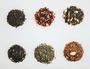 six groups of loose leaf teas