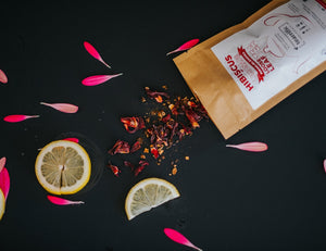 lemon iced tea with hibiscus