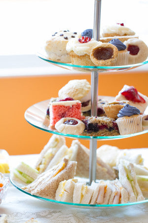 afternoon tea party serving ideas scones tarts tiered cake stand