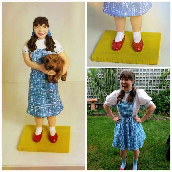 realistic custom birthday cake topper polymer clay handmade figurine keepsake wedding wizard of Oz Dorothy Toto
