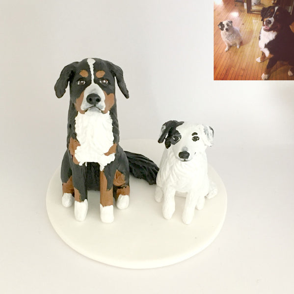 Wedding Cake Topper Custom Realistic Handmade Polymer Clay keepsake with Pets Dogs Horse Bride and Groom Portrait Personalised personalized pets dogs