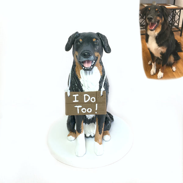 Realistic 'I Do Too' Pet Cake Topper