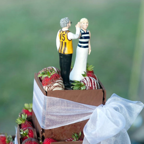 Funny Unique Humourour Realistic Custom Sports Wedding Cake Topper High Five AFL Football