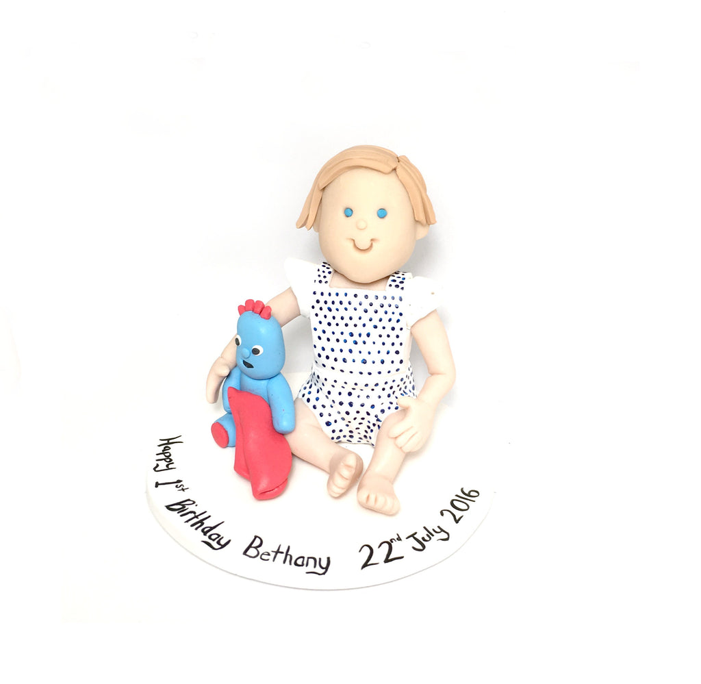 Cartoon Geneirc Custom 1st Birthday Baby Cake Topper Polymer Clay Keepsake