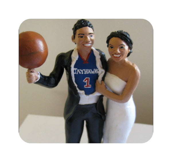Funny Unique Humourour Realistic Custom Sports Wedding Cake Topper High Five AFL Football Basketball