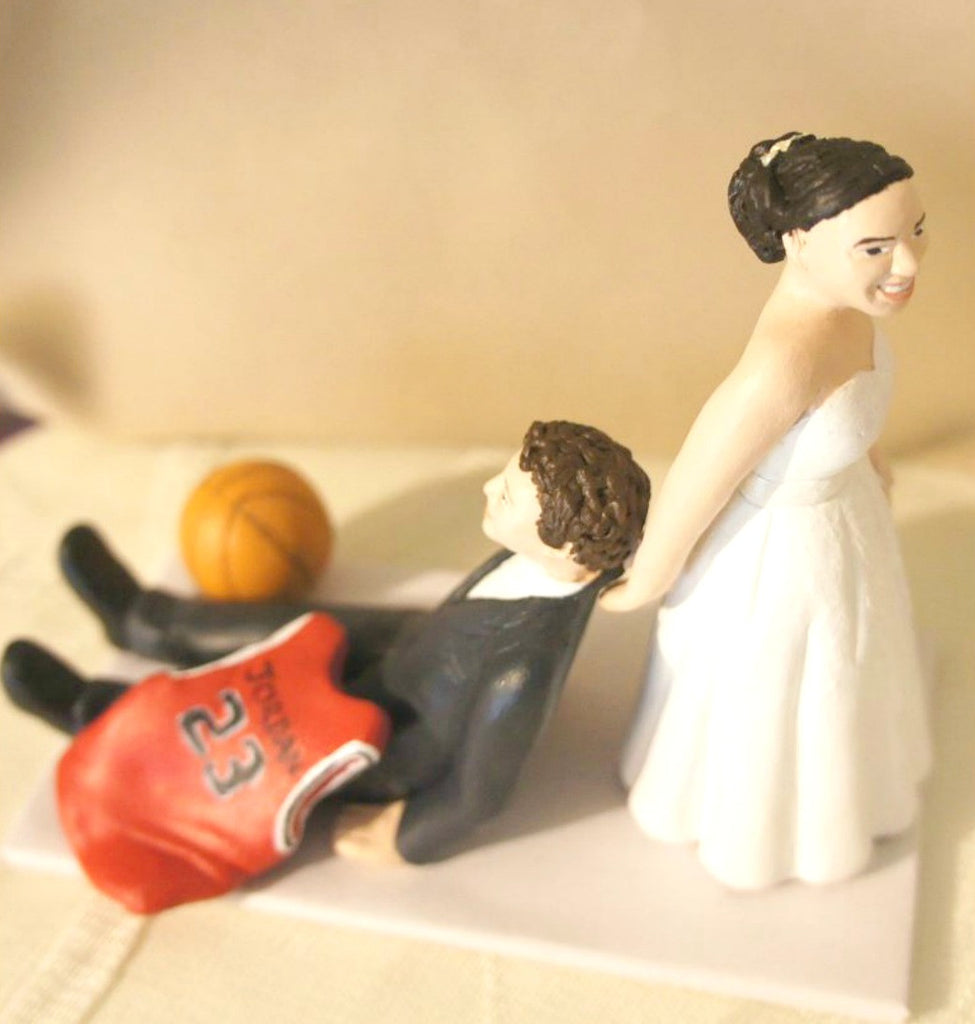 Funny Unique Humourous Realistic Custom Sports Wedding Cake Topper Bride Pulling Groom