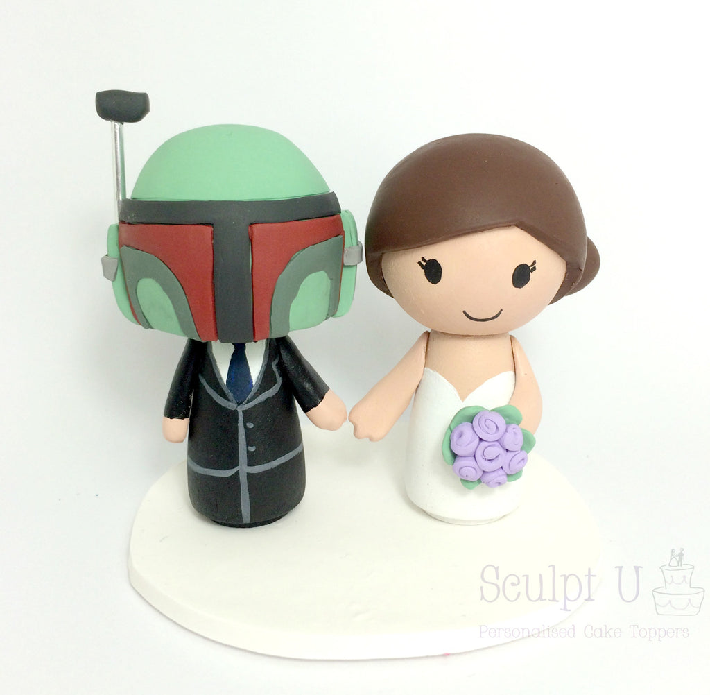 Peg Doll Custom Cake Topper Wedding Bride and Groom Wooden Character Star Wars Movie Character