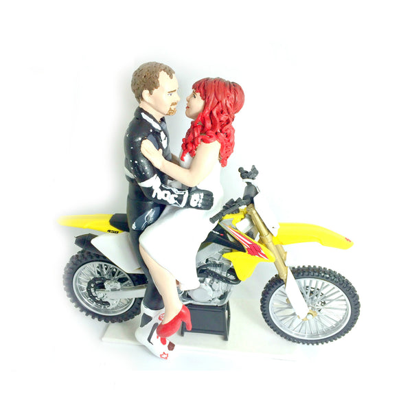 Wedding Cake Topper Custom Realistic Handmade Polymer Clay keepsake with motorbike motorcycle dirtbike bicycle Bride and Groom Portrait Personalised personalized funny humourous Unique