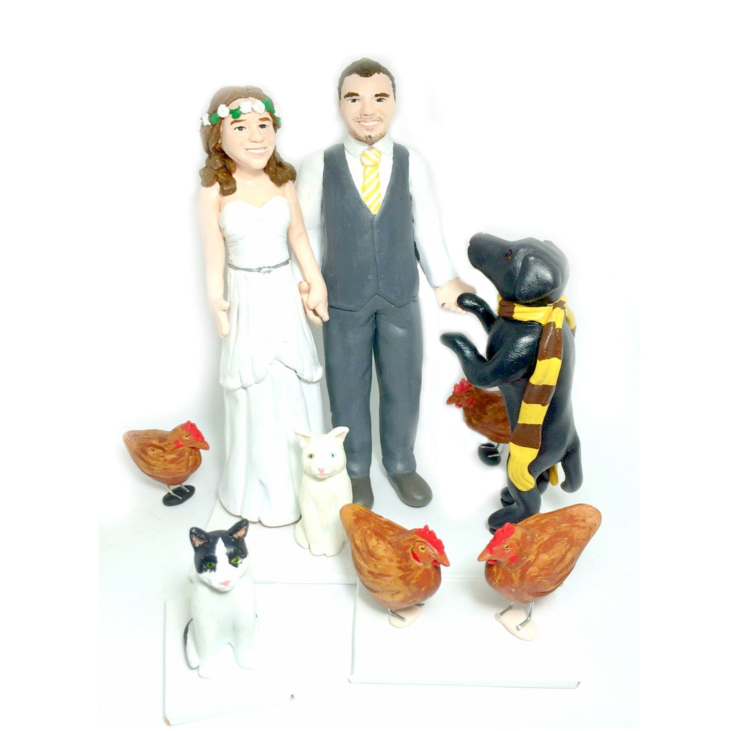 realistic custom birthday cake topper polymer clay handmade figurine keepsake wedding with pets dogs cats chickens