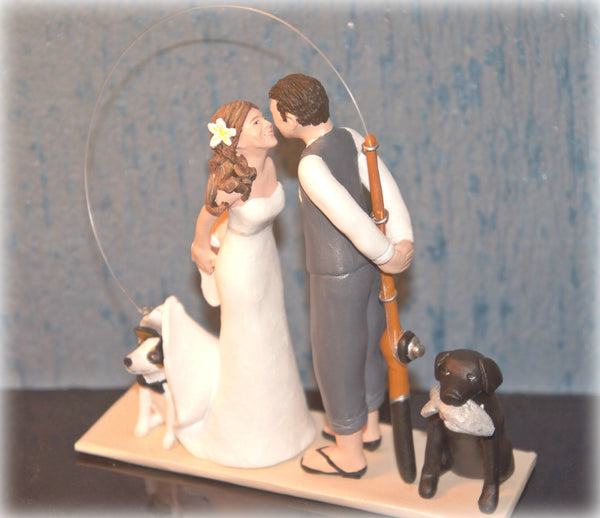 Wedding Cake Topper Custom Realistic Handmade Polymer Clay keepsake with motorbike motorcycle dirtbike bicycle Bride and Groom Portrait Personalised personalized funny humourour unique pets fishing