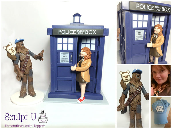 Realistic Portrait Wedding Cake Topper Dr Who Star Wars Chewbacca Ewok Characters Movies