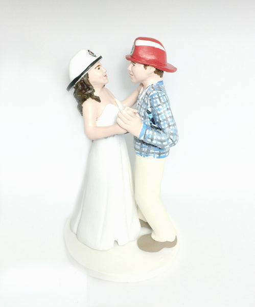 Fireman Firefighter Realistic Custom personalised Wedding Cake Topper polymer clay keepsake handmade using photos dancing