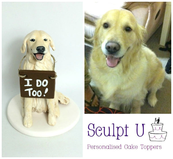 Custom Realistic We Do I do Pet Dog Cake Topper Portrait Wedding Keepsake Polymer Clay