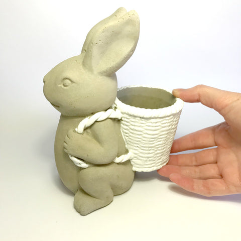 Concrete Bunny Planter - back carrying