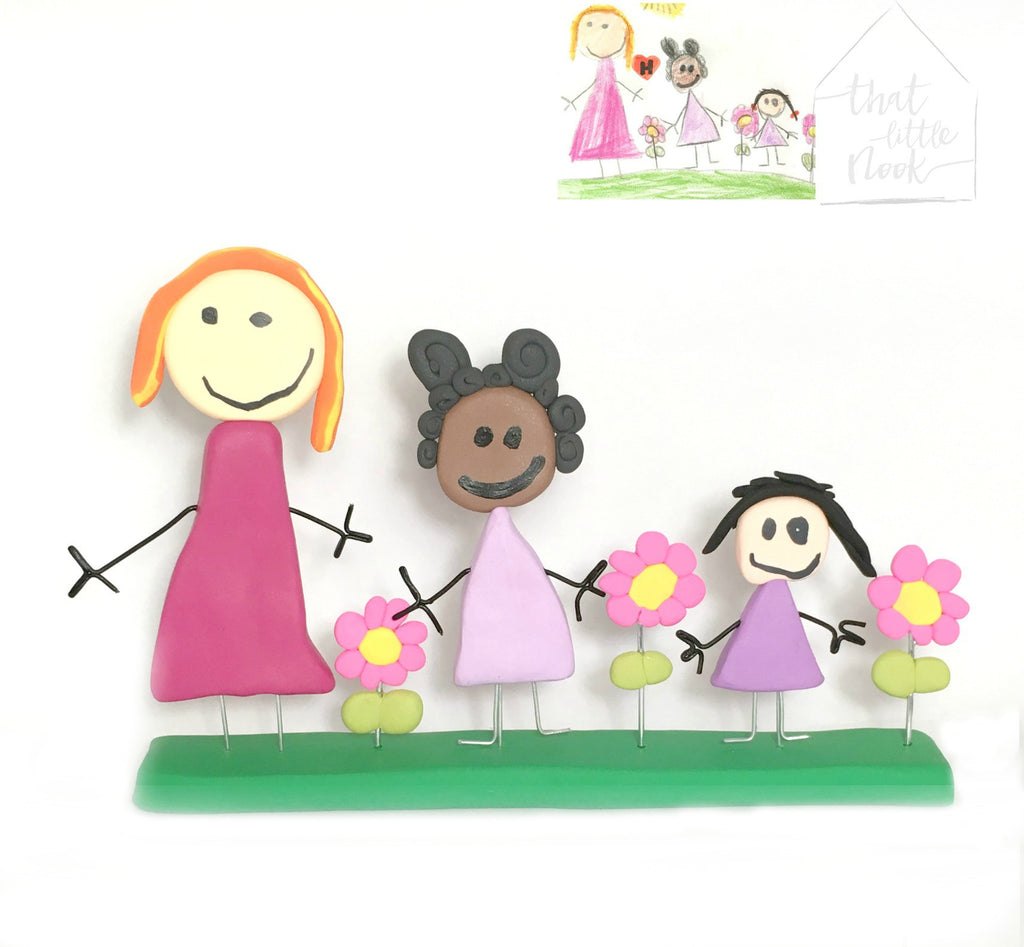 Kids drawing art to Toy Figurine display ornament keepsake Mothers Day Gift