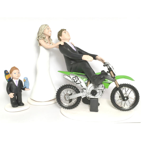 Wedding Cake Topper Custom Realistic Handmade Polymer Clay keepsake with motorbike motorcycle dirtbike bicycle Bride and Groom Portrait Personalised personalized