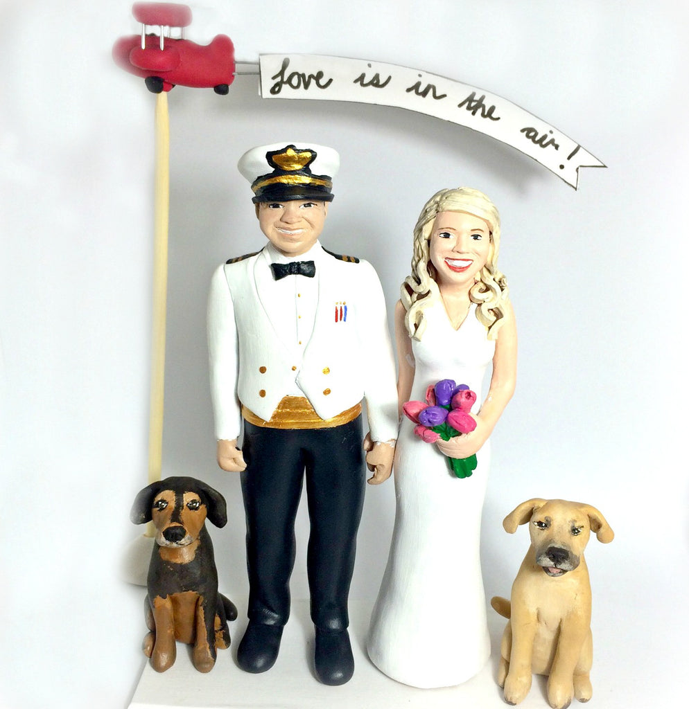 realistic custom birthday cake topper polymer clay handmade figurine keepsake wedding with pets dog career portrait