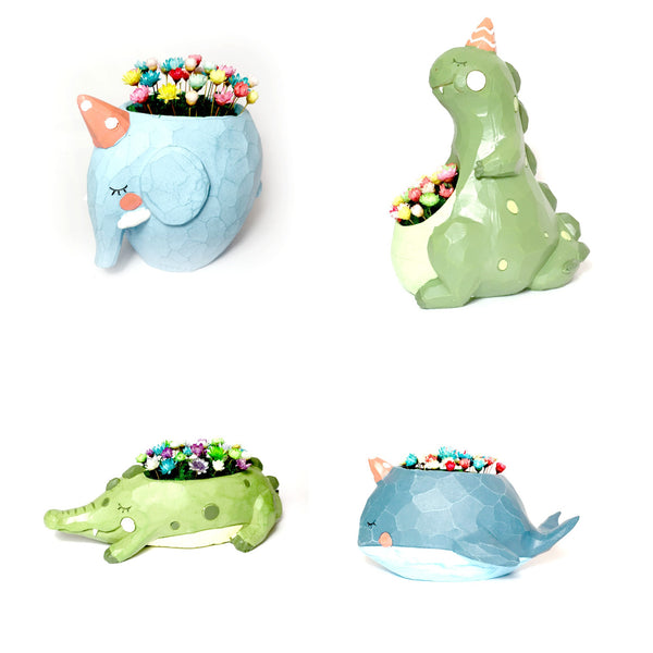 Crocodile whale Elephant Dinosaur Planter with miniature flower garden desk plant